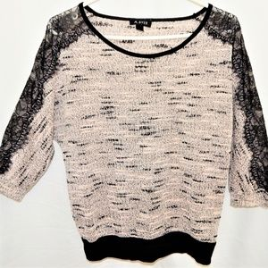Women top A.Byer Pink black lace 3/4 length sleeve